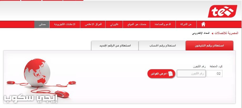 الاستعلام عن فاتورة التليفون الأرضى شهر يوليو 2017 موقع المصرية للاتصالات billing.te.eg