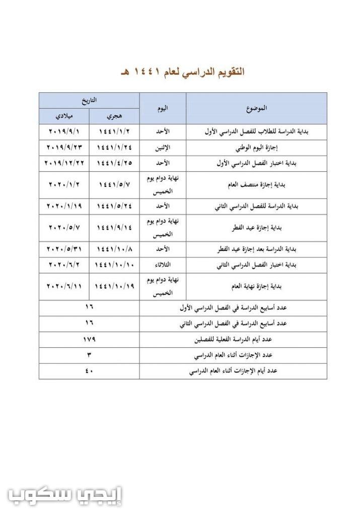 اعتماد التقويم الدراسي ١٤٣٩ وتقويم المدارس لمدة 5 سنوات ...