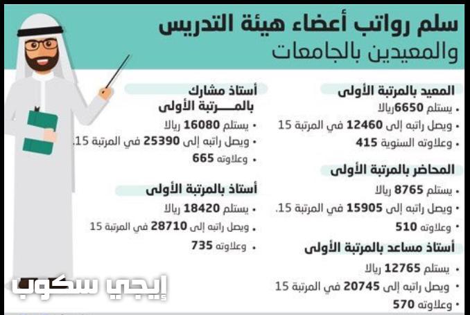 سلم رواتب الجامعات والمعلمين 1439 الجديد لأعضاء هيئة التدريس والمعيدين وقيمة العلاوات السنوية