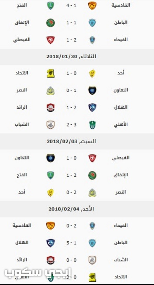جدول ترتيب الدوري السعودي 8