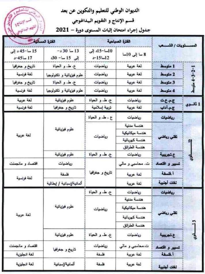 جدول اجراء امتحان اثبات المستوى 1